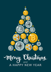 "Vector illustration of decorative triangle Christmas tree shape made of bitcoins, litecoins, ripple coins and ethereum, with ""Happy holidays"" caption. Cryptocurrency, finance, business theme"