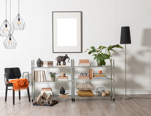 modern bookcase and accessories and frame wall concept room decoration, modern lamp