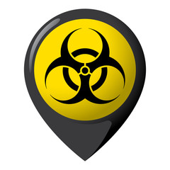 Icon representing location of biological risk, product location and chemical, biological and infectious debris. Ideal for catalogs of institutional materials