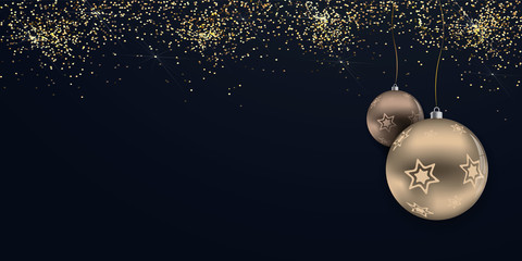Merry Christmas - vector horizontal banner background with glitter ( holiday , xmas , new year )