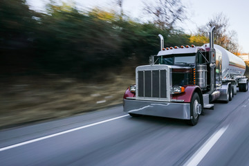 18 wheeler on highway motion blur concept