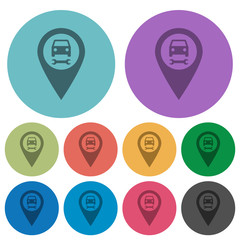 Car service GPS map location color darker flat icons