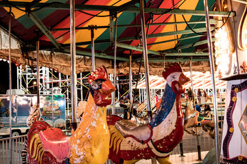 Park horse carousel ride, ferris wheel kids old attraction