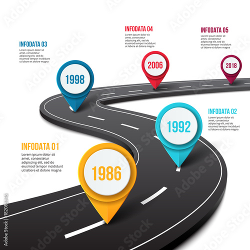 vector road infographic with pin pointer timeline template with 5