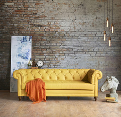 modern wall Chester sofa interior brick wall concept