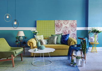 turquoise wall living room, modern lamp interior concept