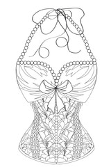 Coloring  page for adults. Corset with flowers and pearls. Art Therapy. Line art illustration.