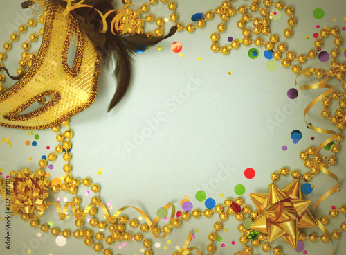 a party border great for new years eve in gold and black with colorful confetti