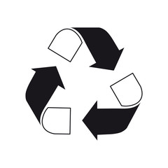 Recycle logo black and white