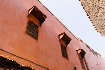 Metal grills on the windows of a house in the Medina in Marrakech, Morocco