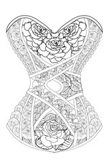 Coloring  page for adults. Corset with  roses. Art Therapy. Line art illustration.