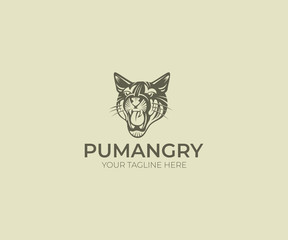 Puma Logo Template. Cougar Vector Design. Animal Silhouette. Predator Illustration