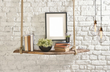 brick wall drift wood shelves and frame concept decor