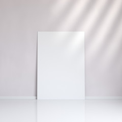 2051788 Realistic blank picture frame near the wall, 3D rendering