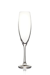 Empty champagne glass on white