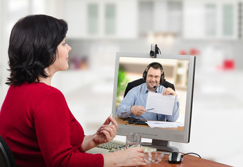 Woman is happy with telemedicine service