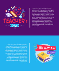 Teachers Day and Literacy Day Vector Illustration