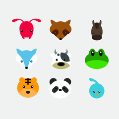 flat head of animals vector. include ant, raccoon, horse, wolf, cow, fog, tiger, panda and quail.