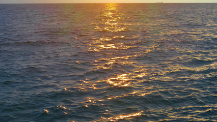 Sunrise over the Black Sea. Popular beaches in Odessa in Ukraine attract many tourists. Beautiful view of the rising sun.