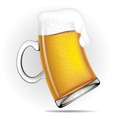 Deformed glass beer mug