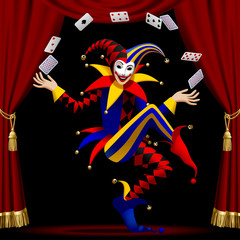 Joker with playing cards farmed by red curtain