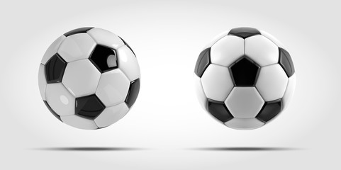 Vector soccer ball set. Two Realistic soccer balls or football balls on white background