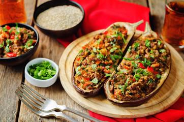 Minced meat quinoa vegetables stuffed eggplants