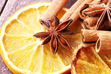 Dry slices of orange, cinnamon, cloves and cardamom.
