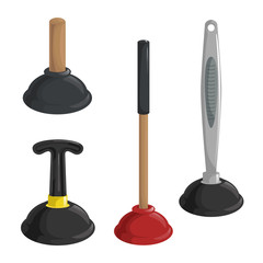 Cartoon simple gradient rubber plungers set. Long and short, plastic and wooden handles. Cleaning vector illustration.