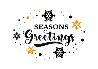 Seasons greetings banner, vector text for winter holiday.