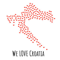 Croatia Map with red hearts - symbol of love. abstract background