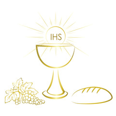 Gold chalice and first communion symbols for a nice invitation design.