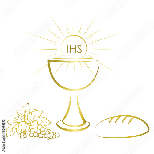 Gold Chalice And First Communion Symbols For A Nice Invitation