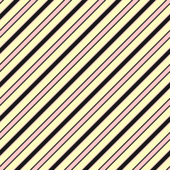 Colorful diagonal stripes seamless pattern, slanted lines. Yellow, pink, black. Baby pattern. Girls pattern. Boys pattern.