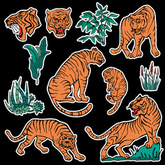 Set of tiger and plants patches elements. Set of stickers, pins, patches and handwritten notes collection in cartoon 80s-90s comic style.Vector stikers kit