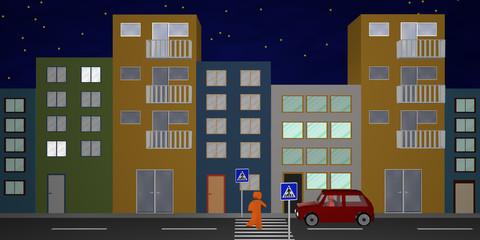 Häuserfront aus Vorderansicht mit Fußgängerüberweg