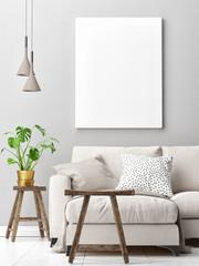 Living room concept design with mock up poster, 3d render, 3d illustration