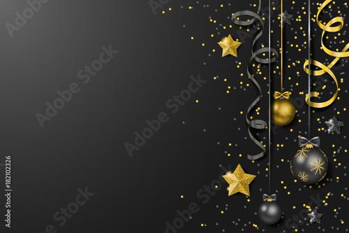 weihnachtskugeln mit luftschlangen und konfetti hintergrund schwarz gold stockfotos und. Black Bedroom Furniture Sets. Home Design Ideas