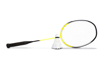 Yellow Graphite Badminton Racket and Shuttlecock Isolated on White