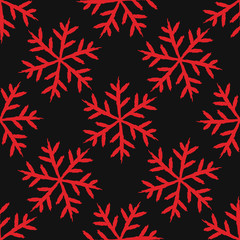 red chalkboard black and white snowflakes seamless pattern background