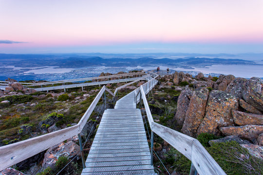 The view overlooking Hobart from Mount Wellington in Tasmania at sunset