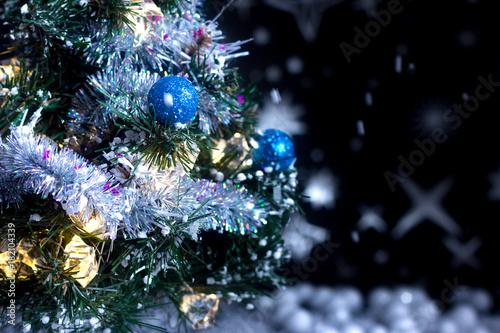 Christmas Time Christmas Tree And Snow Stock Photo And Royalty