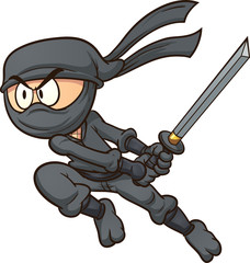 Cartoon ninja attacking. Vector clip art illustration with simple gradients. All in a single layer.