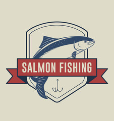 Salmon fishing badge illustration for t-shirt and other uses