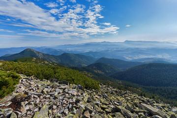 Beautiful majestic blue mountains and rocks. Carpathians
