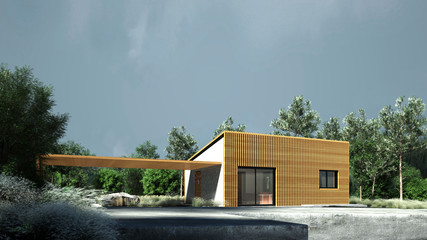 Very small modern house in nature.