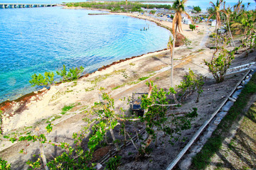 Overview of beach destroyed by Hurricane Irma 2017 in Florida Keys, which is now in recovery