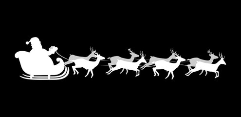 White silhouette of flying Santa Claus with reindeer on black background. Vector greeting card, Christmas card. Holiday season backdrop template illustration. Christmas and New Year eve card