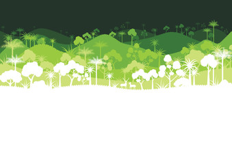 Green silhouette forest abstract background.Nature landscape and environment conservation concept flat design.Vector illustration.