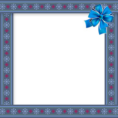 Cute Christmas frame with Christmas snow flakes pattern on blue background. Vector illustration, template, border.